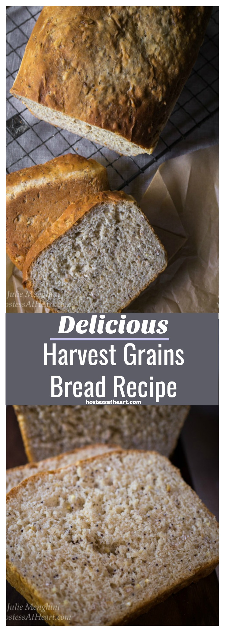 This Delicious Harvest Grains Bread recipe is a warm and hearty bread filled with healthy whole grains and seeds. This bread is perfect for sandwiches all week long. #homemadebread #bread #yeastbread | Whole Grain Bread | Multigrain Bread | Homemade Bread