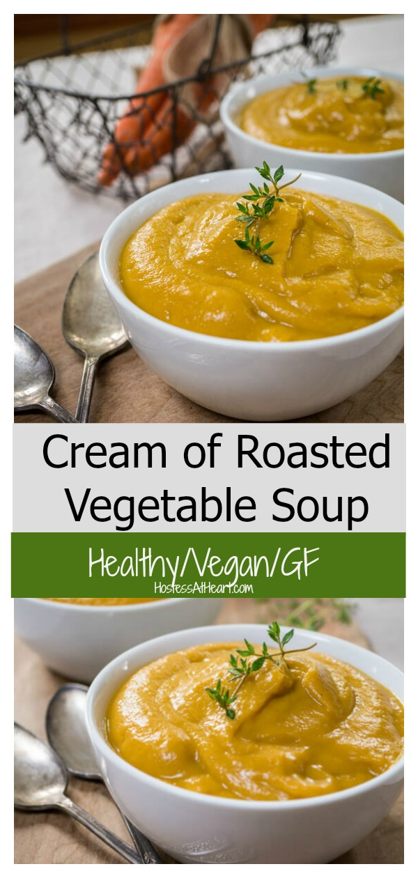 This Healthy Cream of Roasted Vegetable Soup recipe can be made for one or a dozen people.  This soup doesn't use dairy products so is perfect for lactose sensitive or people living a vegan lifestyle. | hostessatheart.com #souprecipes #soup