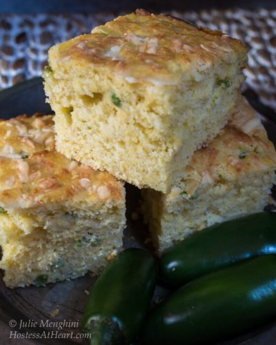 Jalapeno Cheddar Cornbread is an easy to make cornbread recipe that is sweet, spicy and delicious!   HostessAtHeart.com