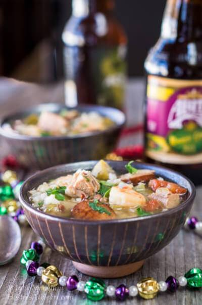 Gumbo is a traditional southern soup or stew, that is a delicious dish anytime, and a great way to celebrate Mardi Gras   HostessAtHeart.com