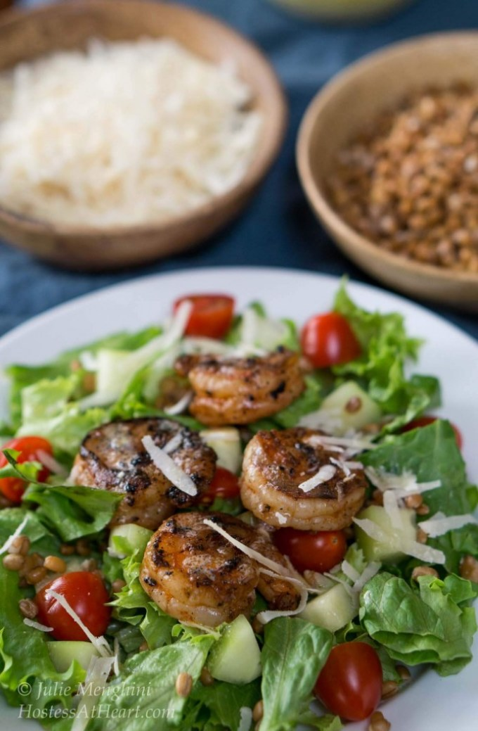 Grilled Shrimp Salad with Wheat Berries will not leave you hungry. It's filling, good for you and delicious   HostessAtHeart.com