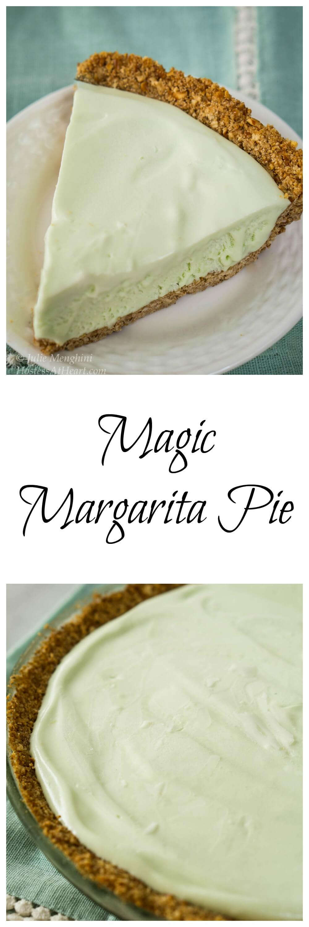 If you love margaritas and frozen pies, you're going to love this Magic Margarita Pie. It's quick to put together and a great way to celebrate Cinco de Mayo! | HostessAtHeart.com #homemade #pie #pierecipes #dessert | Pie Recipe Ideas | Frozen Pie Recipe