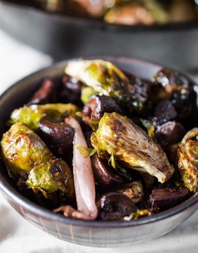 Roasted Brussels Sprouts with Shallots and Mushrooms is a mouthful to say and an unbelievable combination to eat | HostessAtHeart.com