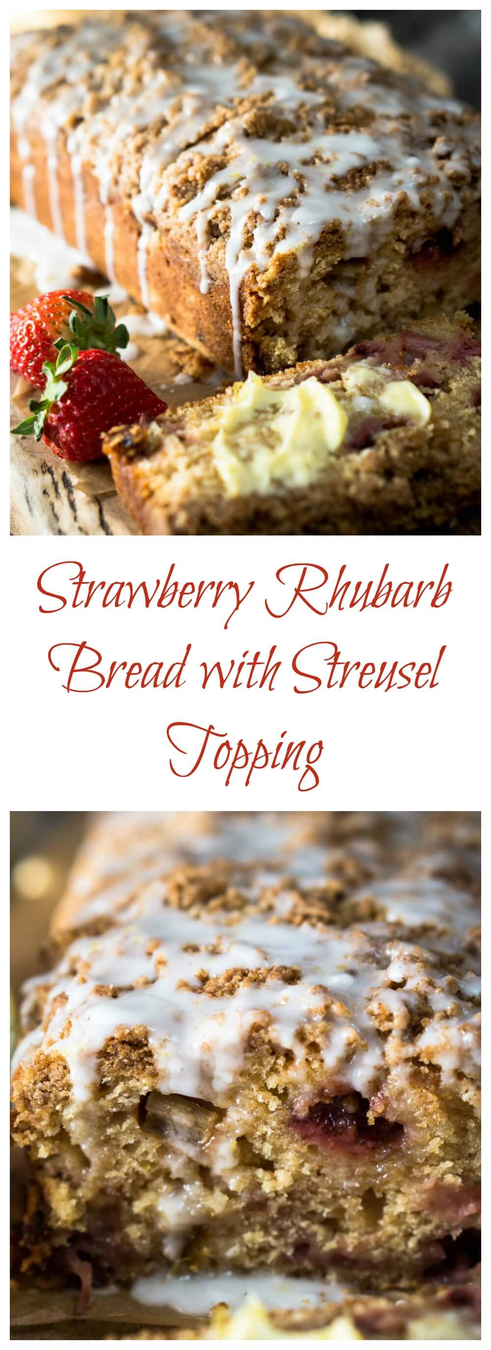 Strawberry Rhubarb Bread with Streusel Topping could easily pass for cake. It is sweet, tart and crunchy all at the same time. HostessAtHeart.com