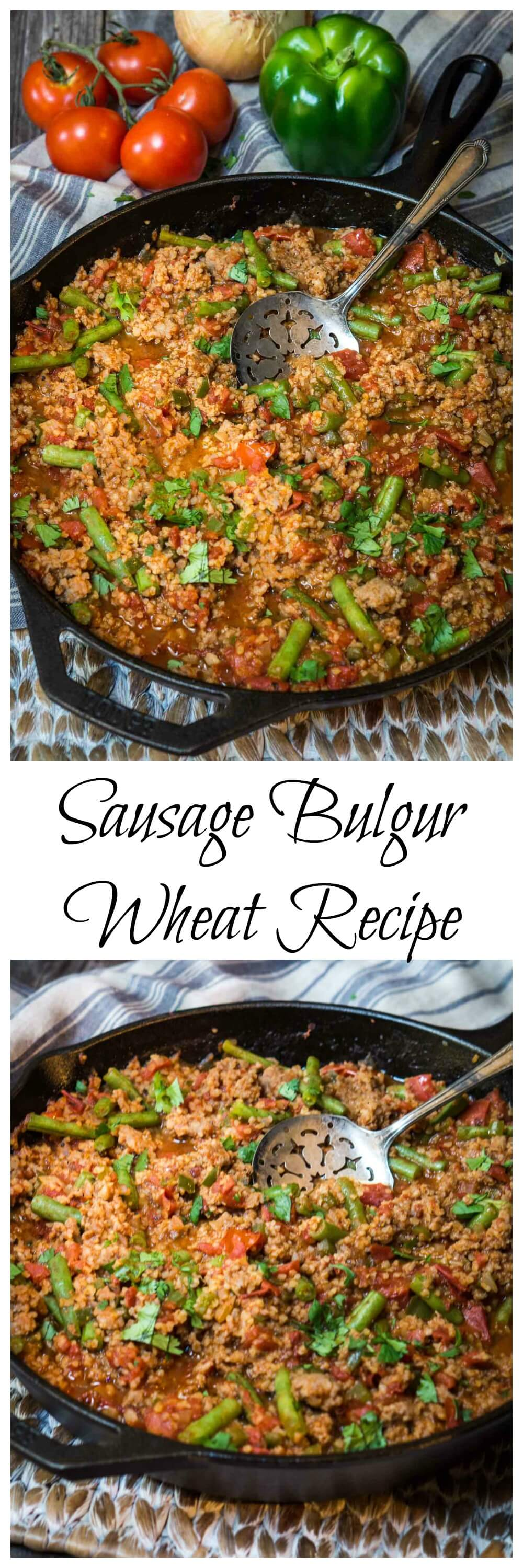 Bulgur Wheat has a warm nutty flavor. It can be cooked right into your recipe in 20 minutes which makes it perfect for this One-pan Sausage Bulgur Wheat Recipe any night of the week. #bulgur #WholeGrain #cookinglight, #healthyrecipes #healthy #healthyfood