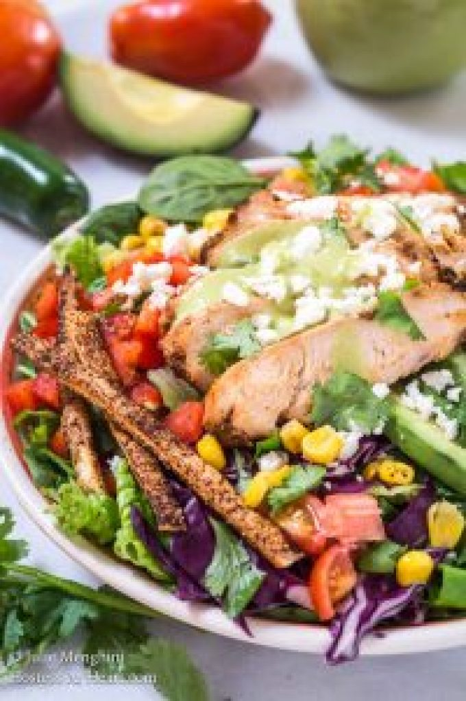 Chipotle Grilled Chicken salad has a Honey Jalapeno Vinaigrette that makes this salad anything but ordinary.  It's full of colors, textures, and delicious flavors. | HostessAtHeart.com