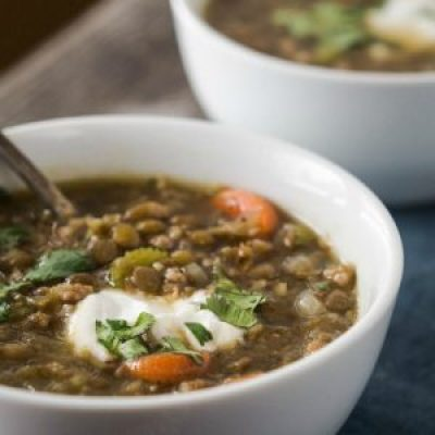 This Lentil Sausage Soup recipe is a delicious high protein soup that takes less than an hour to make but tastes like it took all day. | HostessAtHeart.com