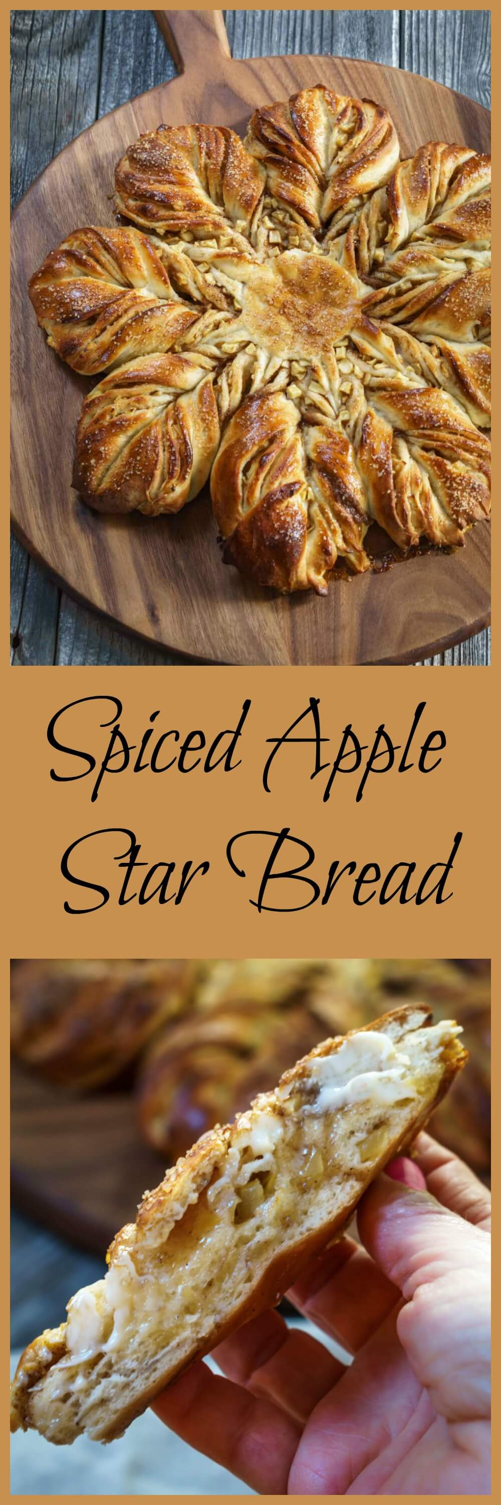 Spiced Apple Star Bread is so good you can eat it with a cup of soup or as a dessert. It's buttery, tender, and warm from the fall spices. | HostessAtHeart.com #homemade #comfortfood | how to make bread #baking #breadmaking