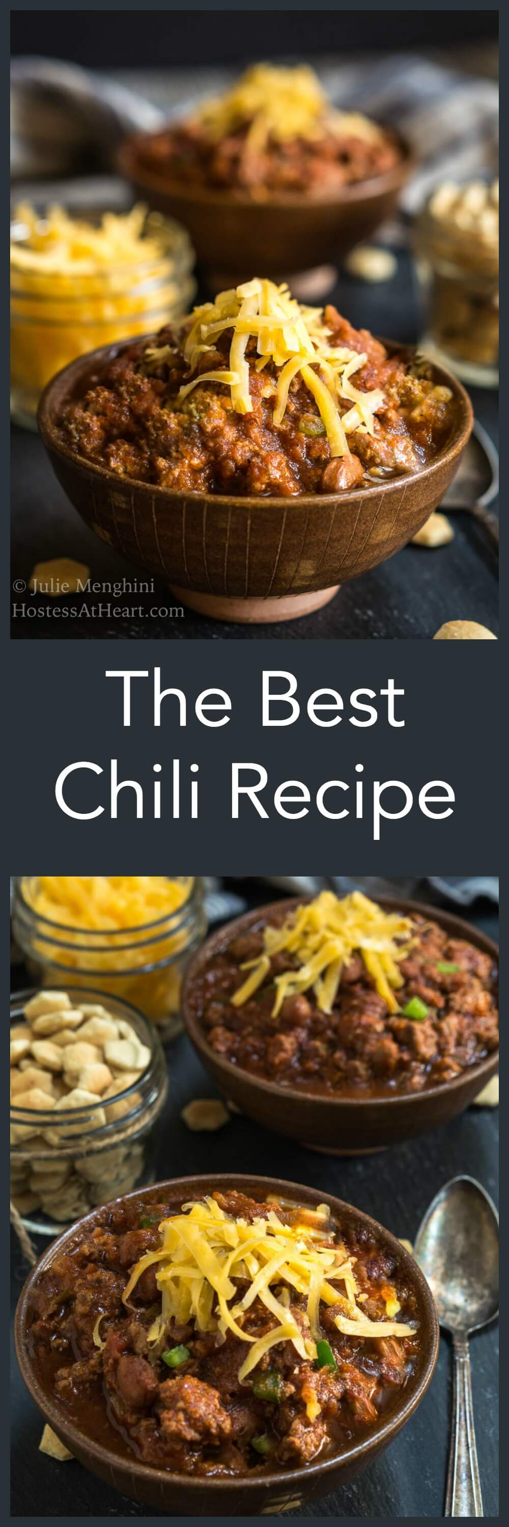 The Best Chili Recipe will change the way you make chili from now on. It has a secret ingredient that takes this dish to the next level. It's easy to make and makes enough for a crowd | HostessAtHeart.com #chili #chilirecipe #homemadesoup #souprecipes  homemade chili from scratch, easy chili recipe, easy beef chili