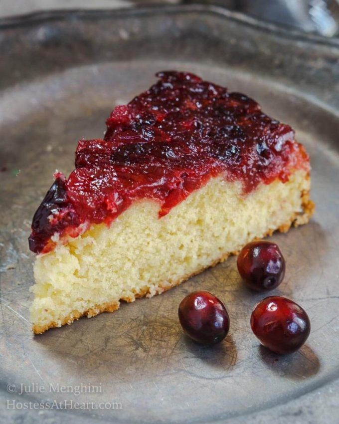 Cranberry Upside-Down Cake is soft and tender. The cake tastes like sweet cream which is a great contrast to the tartness of the cranberries. | HostessAtHeart.com