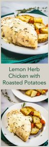 Lemon Herb Chicken with Roasted potatoes is a complete, delicious meal. Even though it cooks in just 30 minutes, this sauce will have people thinking it took all day. | HostessAtHeart.com