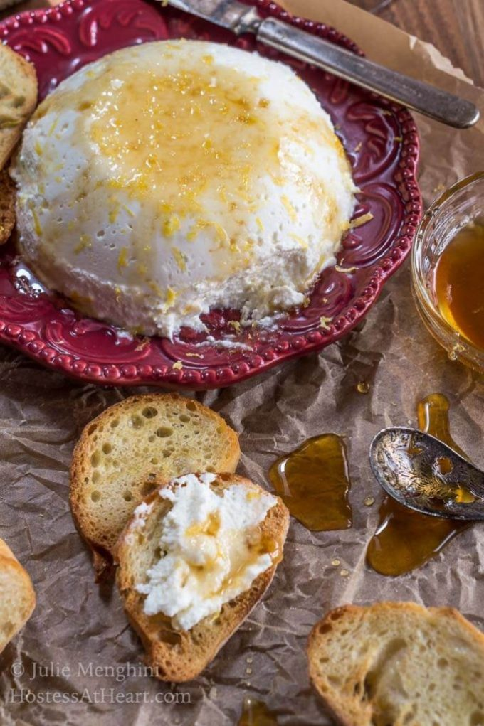 Homemade Lemon Ricotta With Honey makes a deliciously decadent appetizer that is both quick and very easy to make. Once you make it you will never buy it again.   HostessAtHeart.com