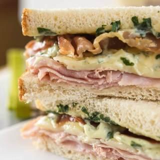Ham, Melted Brie, Crispy Prosciutto Sandwich with Basil Aioli
