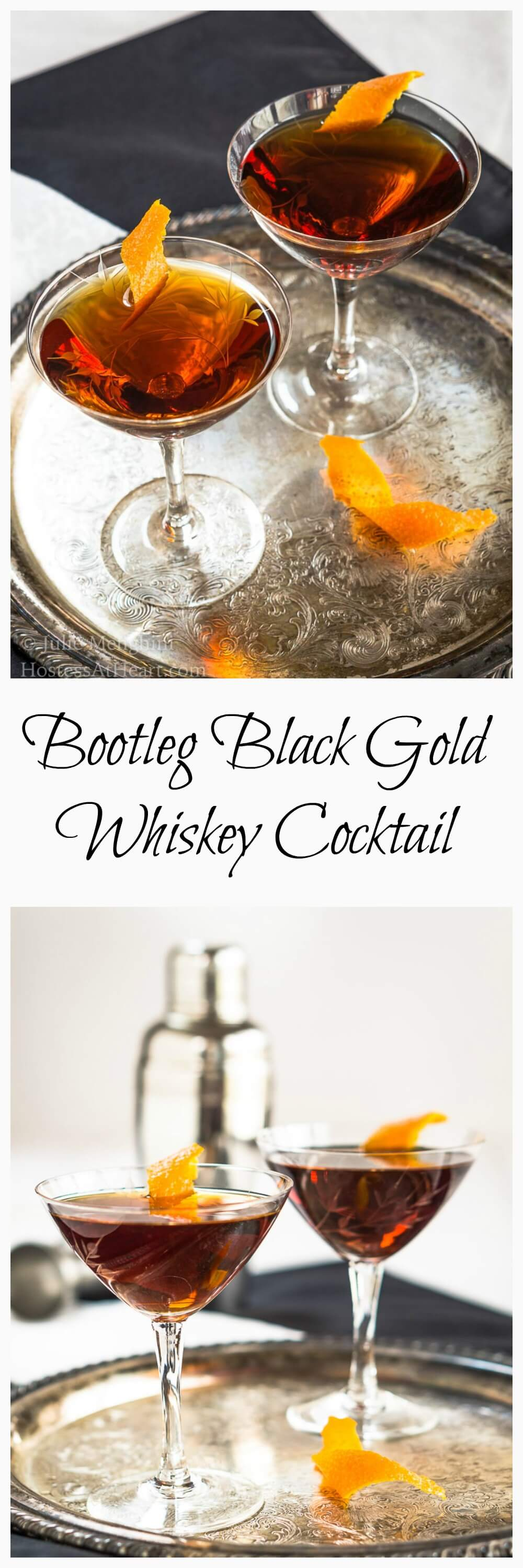 Bootleg Black Gold Whiskey cocktail is smooth, slightly sweet with a touch of orange. It's a great after dinner or an anytime sipper. | HostessAtHeart.com  #cocktail #drinks #whiskey #easyrecipe