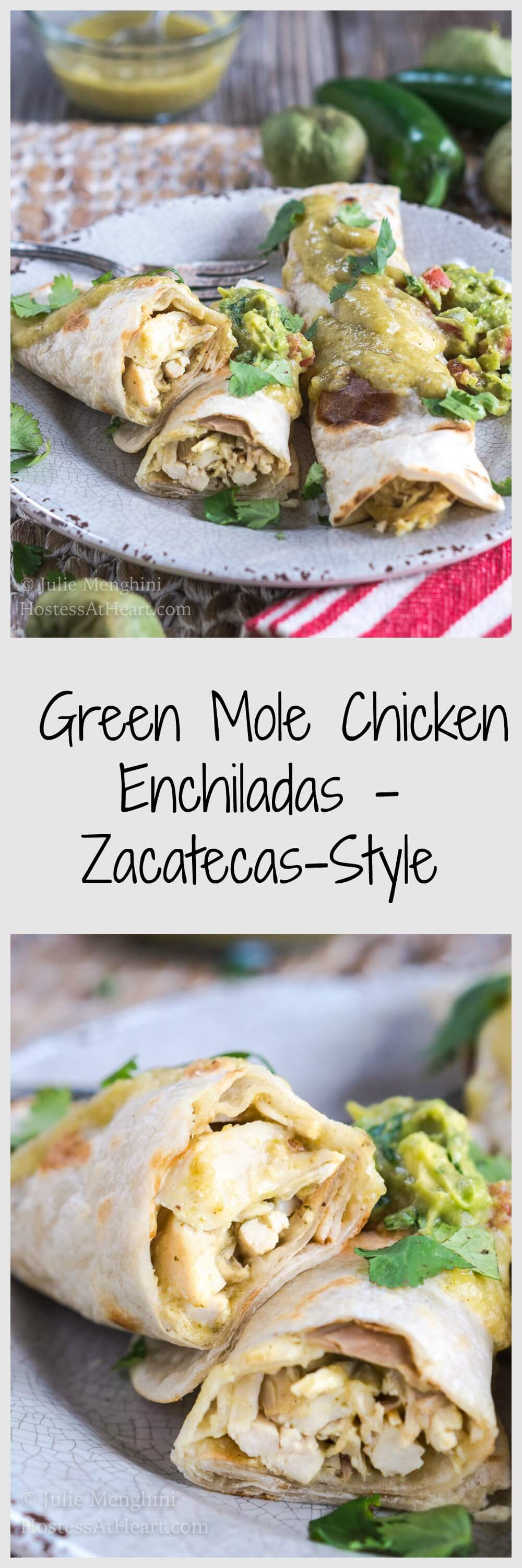 Really Good Green Mole Chicken Enchiladas - Zacatecas-Style are so flavorful and will take over as your favorite Enchiladas! | HostessAtHeart.com