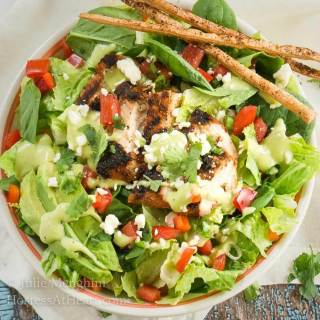 Mexican Grilled Chicken Chopped Salad with Honey Jalapeno Dressing