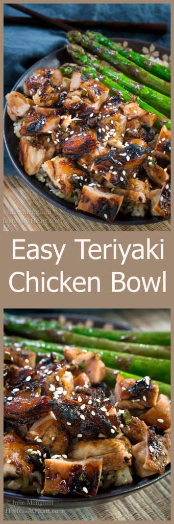 Easy Teriyaki Chicken Bowl Recipe is a rich slightly sweet savory dish that tastes better than takeout. | HostessAtHeart.com