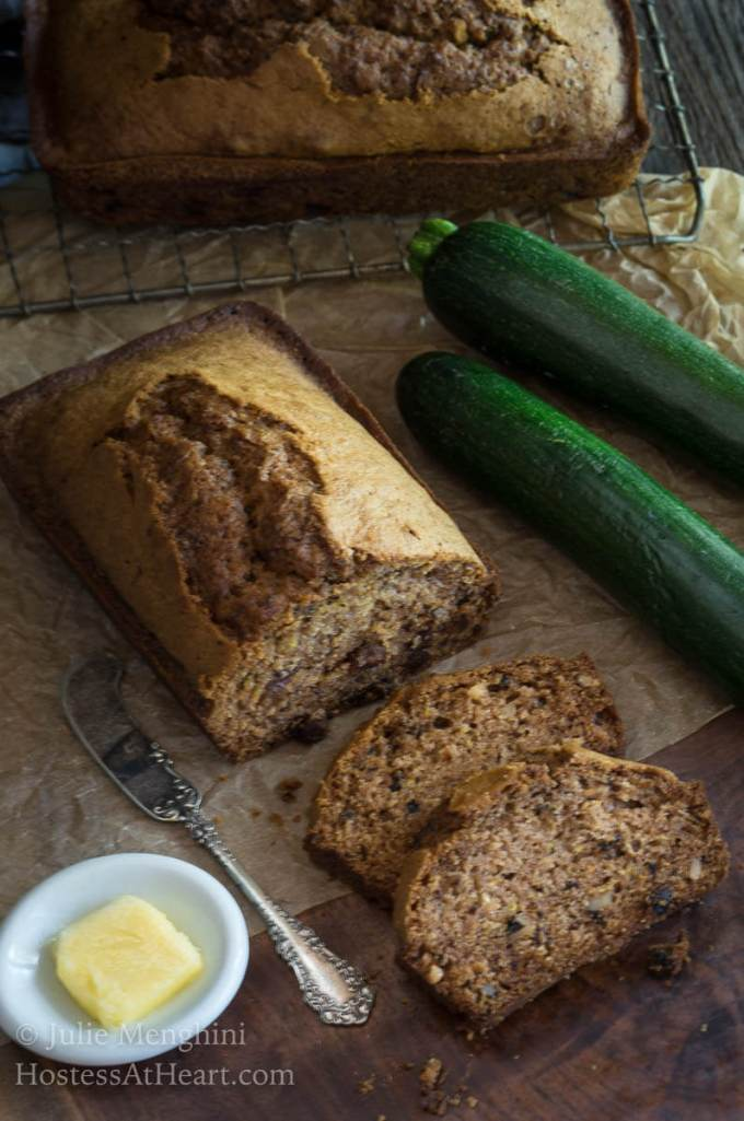 Grandpa George's Zucchini Bread recipe is not your ordinary zucchini bread recipe. It is moist, delicious, and made with minimal ingredients. | HostessAtHeart.com