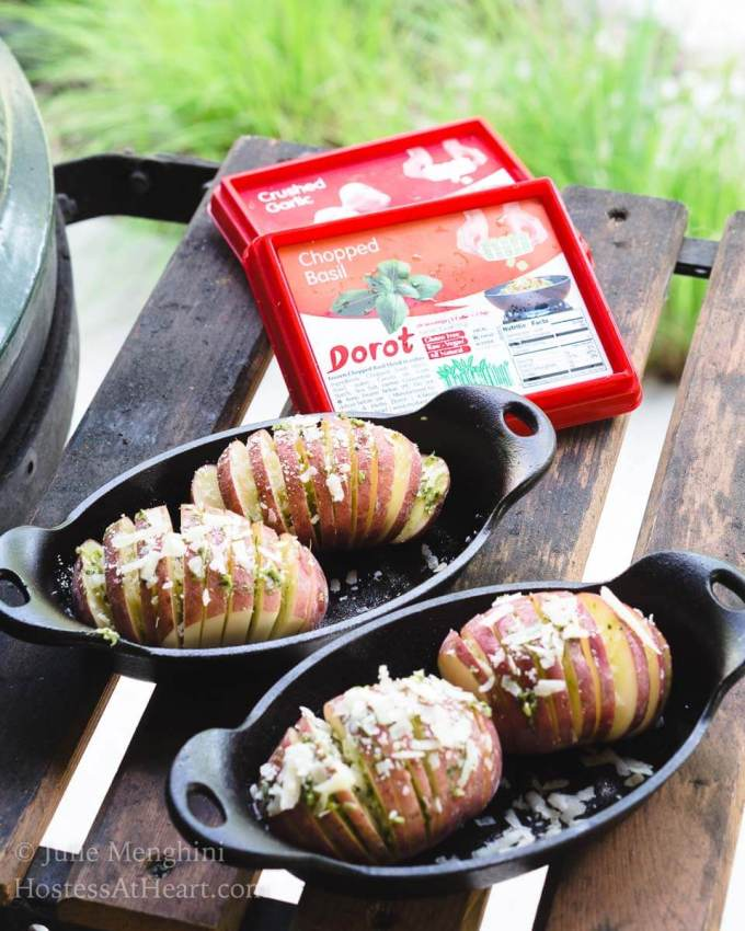 Keep summer grilling and entertaining simple with Garlic-Basil Red Hasselback Potatoes and Dorot. Just sit back and enjoy your guests.   HostessAtHeart.com