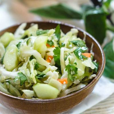 Thai Basil Cabbage Slaw with Jalapeno recipe is full of flavors and texture.  It's herby, crunchie, slightly sweet with a subtle kick of heat. | HostessAtHeart.com