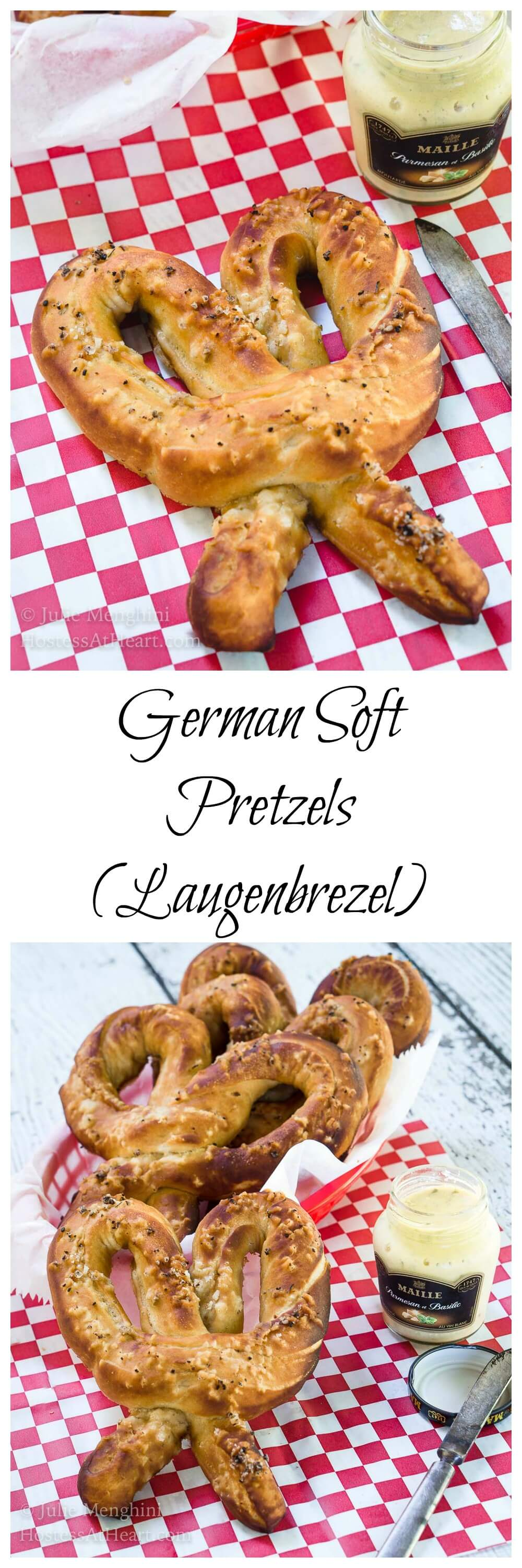 This German Soft Pretzel recipe has that perfect pull when you bite into them and a soft and tender center.  These pretzels are so good they don't even need a dipping sauce. | HostessAtHeart.com