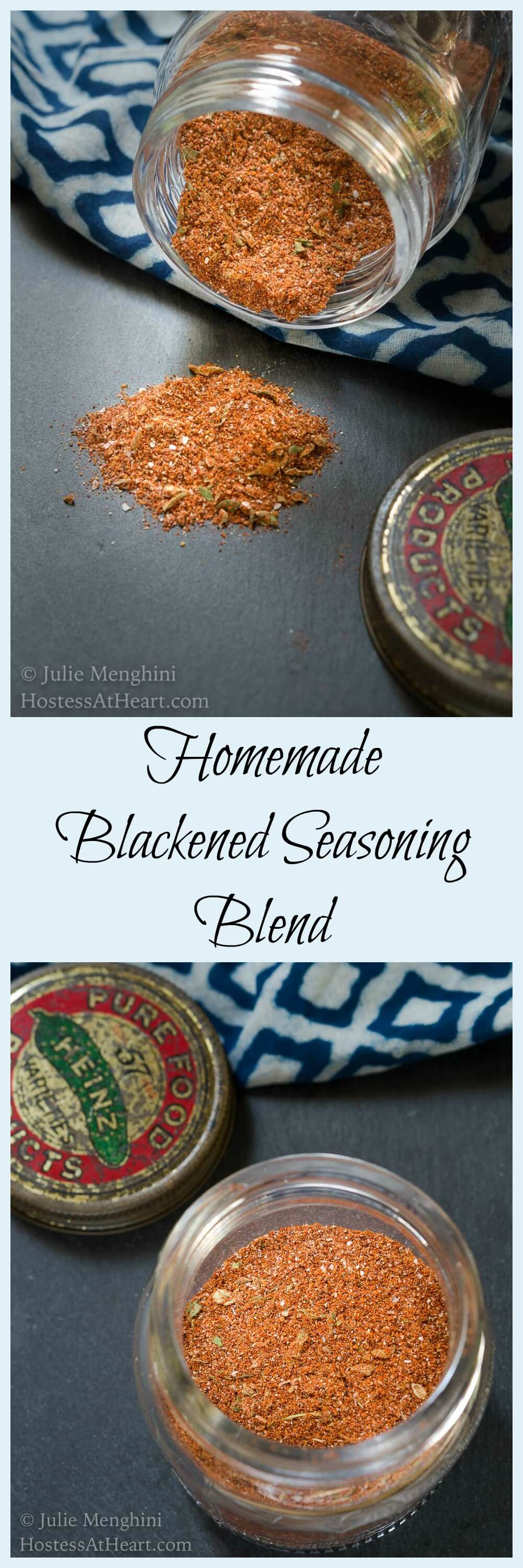 This Homemade Blackened Seasoning Blend #recipe bumps up the flavor of any meat or veggie dish.  It's got a great flavor followed by a bit of a kick. HostessAtHeart.com