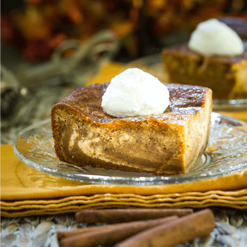Smooth & Creamy Pumpkin Cheesecake Swirl Bars