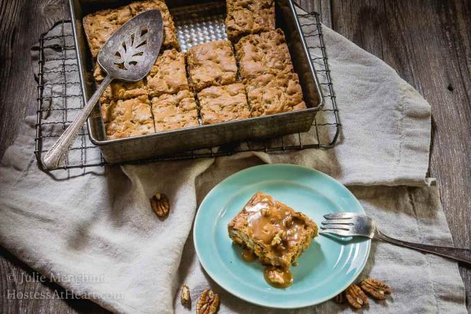 I'm not going to waste a special treat on something that isn't delicious. A bite of a Butterscotch Pecan Bars with a Brown Sugar Drizzle is definitely a delicious special treat!   HostessAtHeart.com