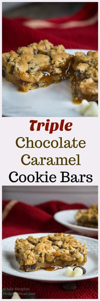 Triple Chocolate Caramel Cookie Bars are soft and gooey and will feed a crowd.  They are rich and can be whipped up in a jiffy too so they're perfect for company or a make and take. | HostessAtHeart.com
