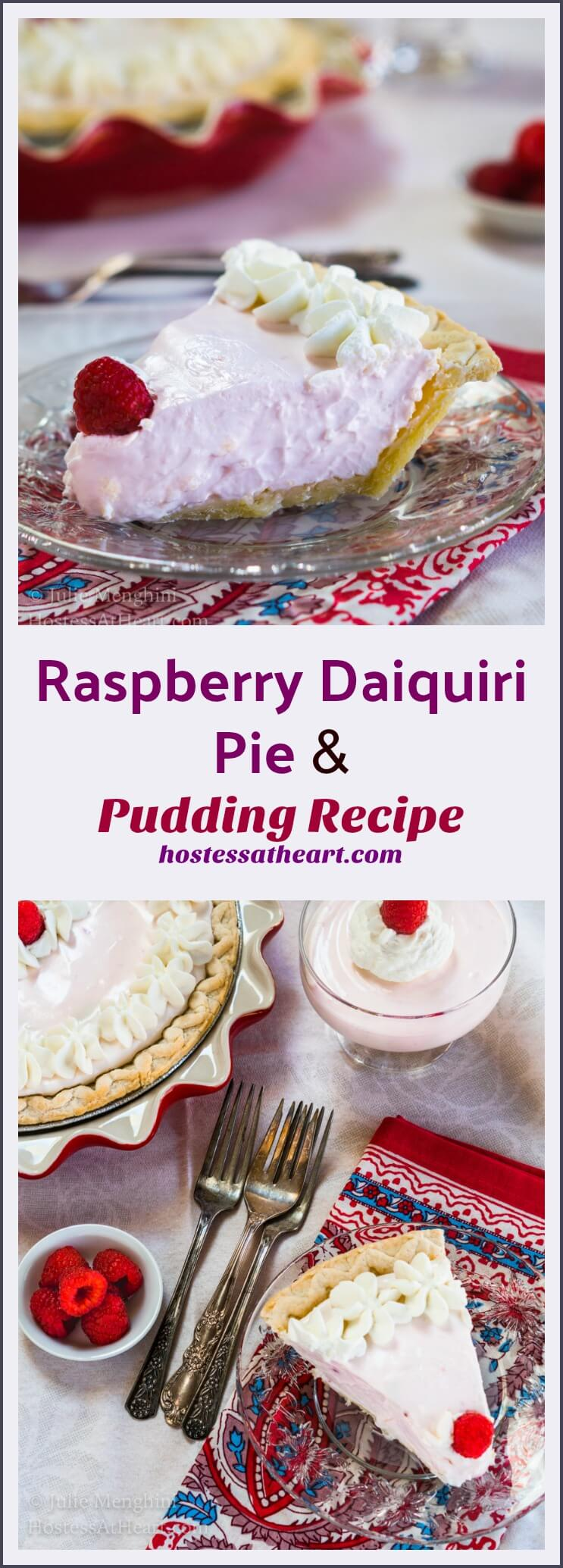 If you love a good Daiquiri and a delicious creamy pie, you're going to love this Raspberry Daiquiri Pie. Don't want to mess with a crust? The filling makes a delicious pudding dessert! #pierecipes #homemadepie #dessert #rum | Homemade Pie Recipe | Pie Recipe Ideas | Raspberry Dessert