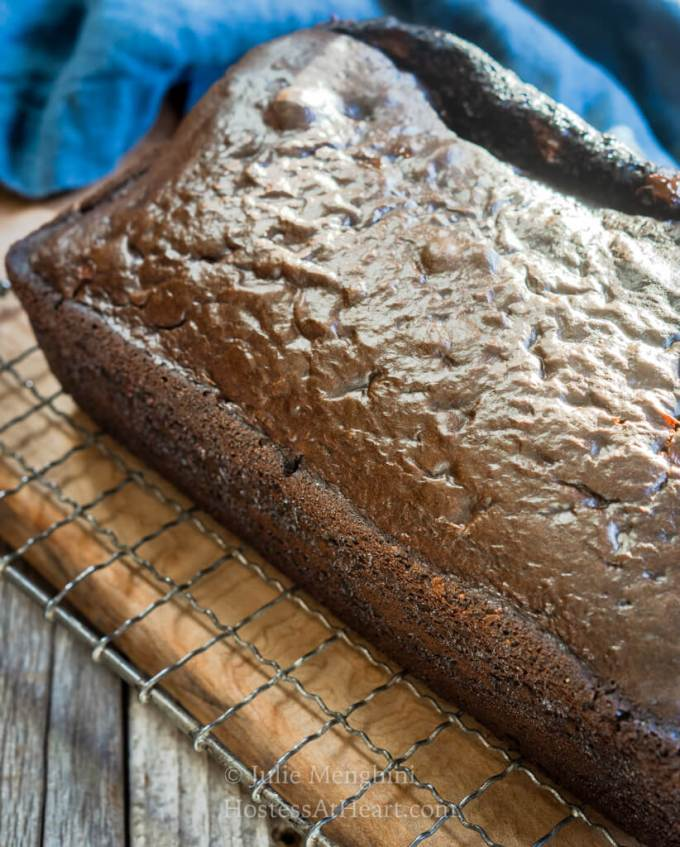 top view of a loaf of dark chocolate bread