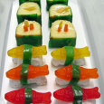Twinkie Sushi wrapped in seaweed (fruit leather recipe below) Slice a small amount of the donut to allow the fish to stay in place more easily. Use different color fruit […]