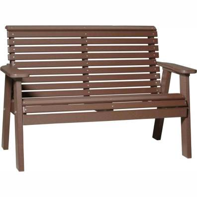 LuxCraft Poly 4' Plain Bench Chestnut Brown