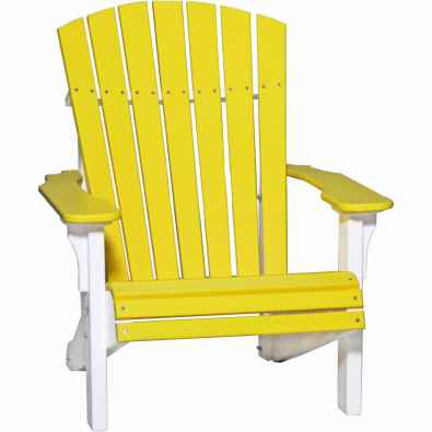 LuxCraft Poly Deluxe Adirondack Chair Yellow & White