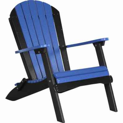 LuxCraft Poly Folding Adirondack Chair Blue & Black
