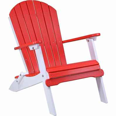 LuxCraft Poly Folding Adirondack Chair Red & White