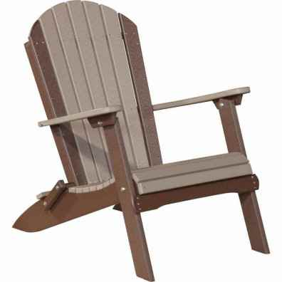 LuxCraft Poly Folding Adirondack Chair Weatherwood & Chestnut Brown