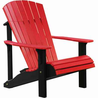 LuxCraft Poly Deluxe Adirondack Chair Red & Black