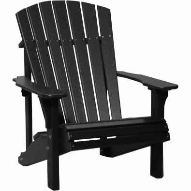 LuxCraft Poly Deluxe Adirondack Chair Black