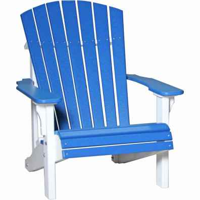 LuxCraft Poly Deluxe Adirondack Chair Blue & White