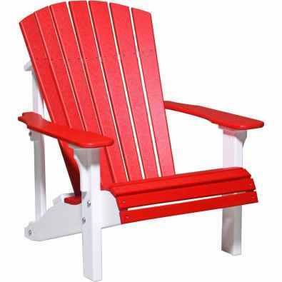 LuxCraft Poly Deluxe Adirondack Chair Red & White