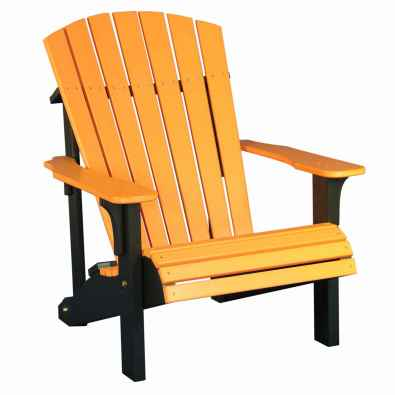 LuxCraft Poly Deluxe Adirondack Chair Tangerine & Black