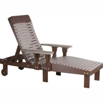LuxCraft Poly Lounge Chair Weatherwood & Chestnut Brown
