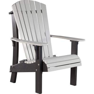 LuxCraft Poly Royal Adirondack Chair Dove Gray & Black