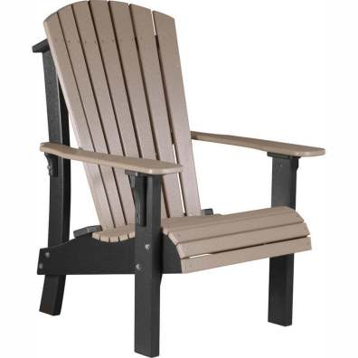 LuxCraft Poly Royal Adirondack Chair Weatherwood & Black