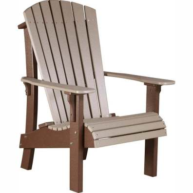 LuxCraft Poly Royal Adirondack Chair Weatherwood & Chestnut Brown