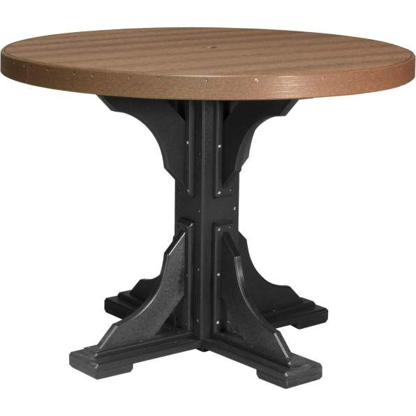 Poly 4' Round Table (Antique Mahogany & Black) Counter Height