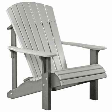 LuxCraft Poly Deluxe Adirondack Chair Slate & Dove Gray