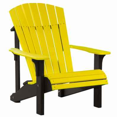 LuxCraft Poly Deluxe Adirondack Chair Yellow & Black