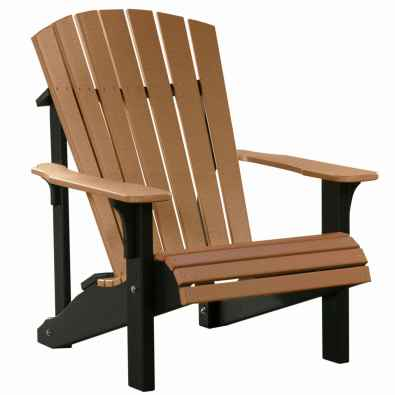 LuxCraft Poly Deluxe Adirondack Chair Cedar & Black